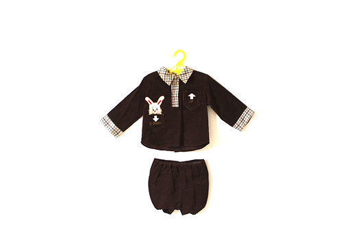 Vintage Brown Bunny Outfit with Bloomer Shorts 1-2 Years