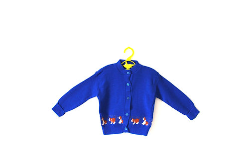 Vintage Blue Puppy Dog Cardigan 1970's 2 Years