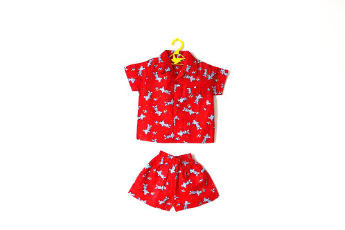 Vintage 1960's Red Bunny Two Piece Short and Shirt Outfit