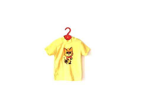 Vintage Kitsch Cat T-shirt Children's 1970's Yellow