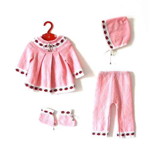 Vintage Strawberry Thin Knitted Four Piece Outfit 12 Months