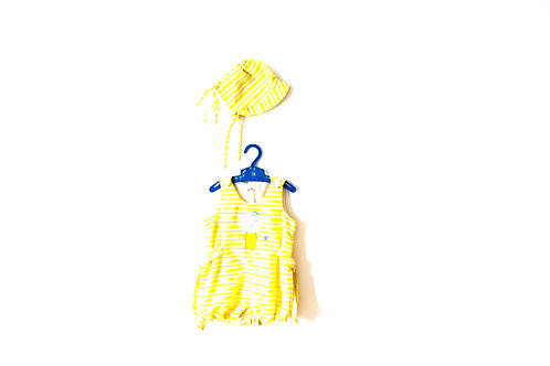 Vintage 1960's Yellow Romper and Bonnet 2-3 Years