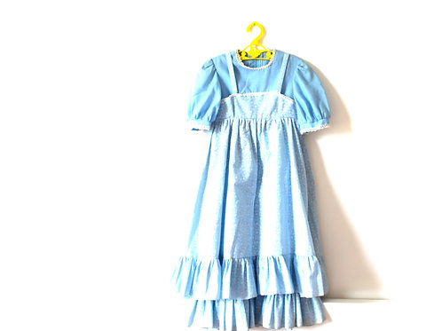 Vintage Floral 1960's Blue White Dress 4-5 Years