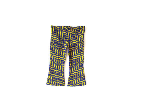 Vintage 1970's Yellow Blue Patterned Trousers 4-5 Years