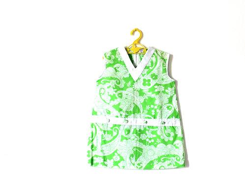 Vintage 1960's Green Paisley Shift Mod Dress 3-4 Years