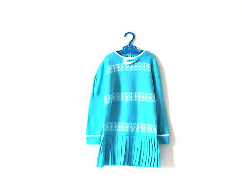 Vintage Fairisle Blue Knitted Dress 60's 5 Years