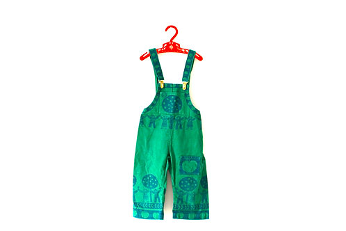 Vintage 1970's Green People Dungarees 2-3 Years