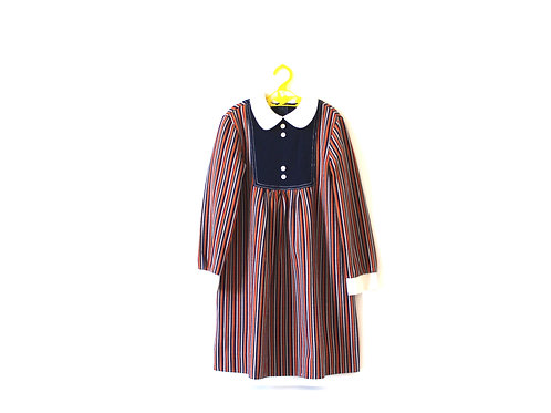 Vintage Mod 1970's Peterpan Collar Striped Dress 7 Years