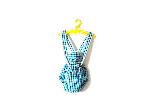 Vintage Baby Romper 1950's Blue Gingham 12 Months