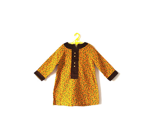 Vintage Autumnal 1960's Floral Dress 3-4 Years