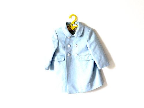 Vintage Textured Blue Coat Baby Peterpan Collar 12 Months