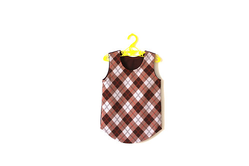 Vintage 1960's Checked Brown Tunic/Dress 1-2 Years