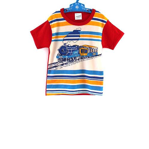 Vintage Unisex 1970's 2-3 Years Train T-shirt Boys Girls Red Yellow