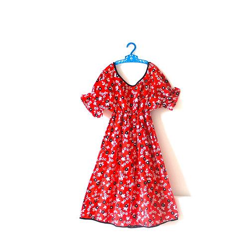 Vintage 1960's Orange Floral Summer Dress Age 6-7