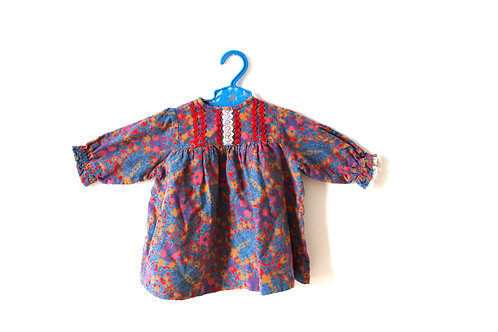 Vintage Girls 1970's Dress Floral 12-18 Months