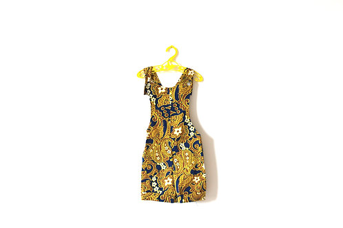 Vintage Psych 1970's Yellow Patterned Blue Autumn Dungarees Romper 3-4 Years