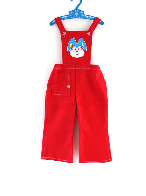 Vintage 1960's 18 Months Red Rabbit Bunny Dungarees Unisex Girls Boys