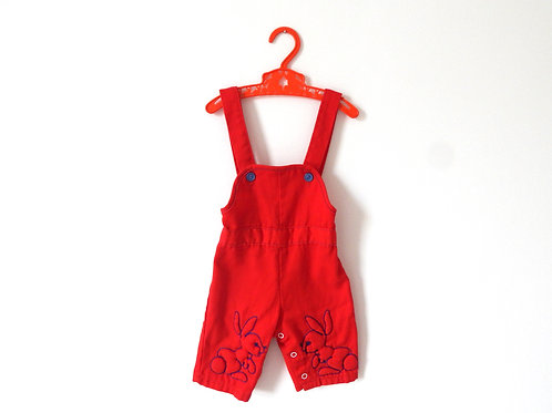 Vintage Baby Bunny Red Dungarees 3-6 Months