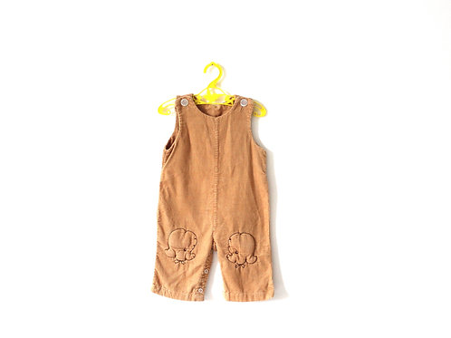 Vintage Poodle Cord Dungarees 6 Months 1950's
