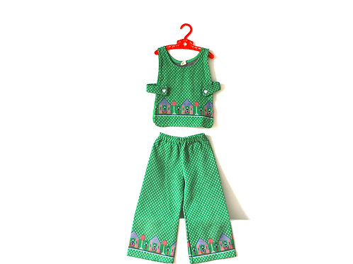 Vintage 1960's Green Outfit Boy Girls House 4 Yrs