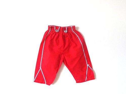 Vintage Red Cotton Mexican Trousers 12 Months