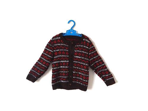 Vintage Knitted 70's Brown Pattern Jumper 12-18 M