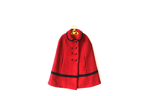 Vintage 1970's Red Cape with Peterpan Collar Winter 5-6 Years