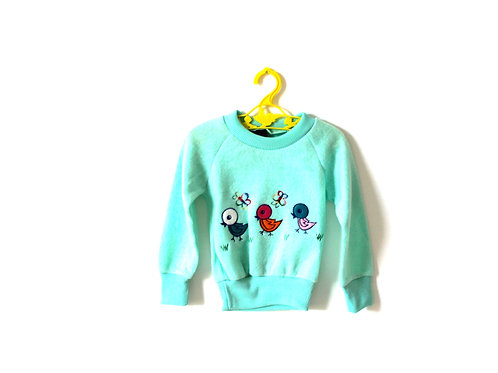 Vintage Green Soft Little Chick Jumper 1970's 1-2 Years