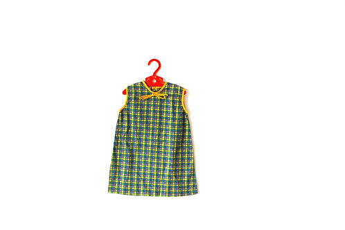 Vintage 1960's Checked Yellow Green Dress 2 Years