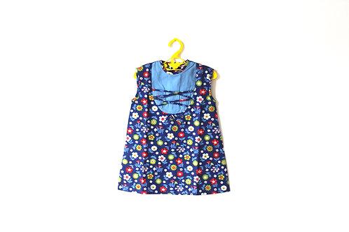 Vintage Blue Floral 1960's Patterned Dress 1-2 Years