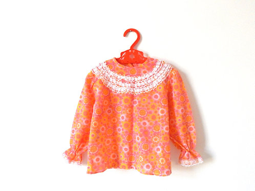 Vintage Girls 60's Floral Blouse 2-3 Years