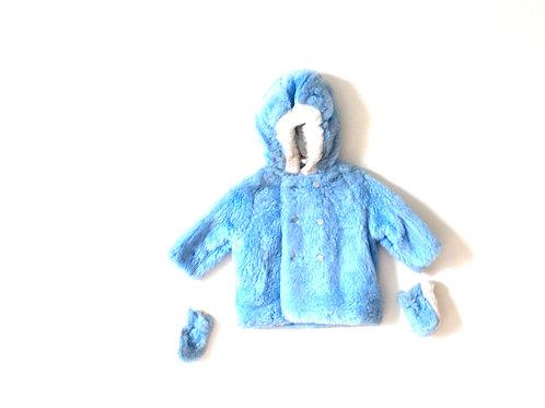 Vintage 1960's Blue Faux Furry Coat 12 Months