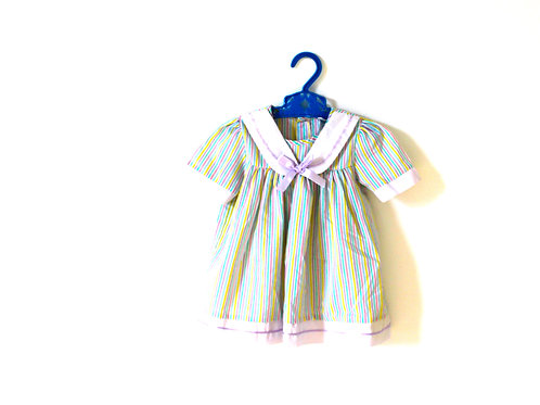 Vintage Pastel Striped Bow Collar Dress 12-18 Months