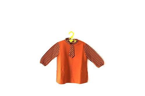 Vintage 1970's Orange and Brown Striped Dress 18 Months