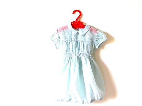 Vintage Traditional Seersucker Pale Blue Romper 2 Years