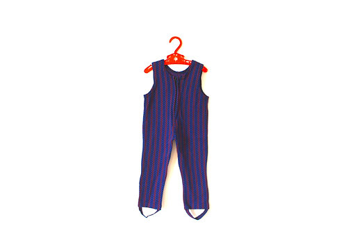 Vintage 1970's Catsuit Blue and Red 9 Months