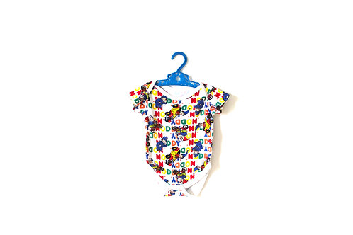 Vintage Noddy Coloured Patterned Bodysuit 3-6 Months