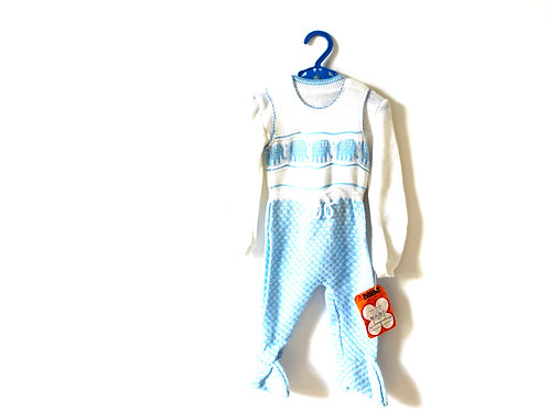 Vintage Traditional 60's Blue Elephant Romper 12-18 Months