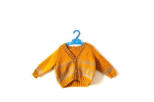 Vintage Knitted Yellow Mustard Cardigan 1-2 Yrs