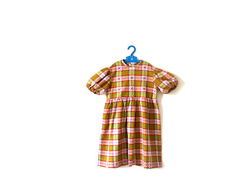 Vintage Checked Multi 1960's Dress 5-6 Years