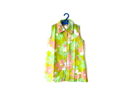 Vintage 1970's Green and Pink Floral Dress 11 Years