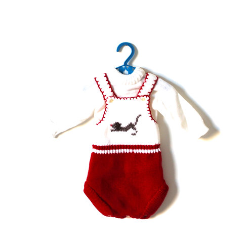 Vintage Baby 1970's Knitted Cat Romper 3-6 Months
