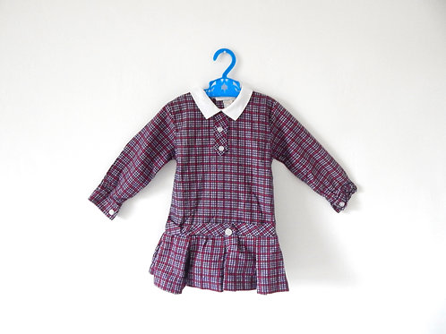 Vintage Girls Mod Collared Checked Dress 1-2 Yrs