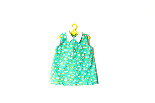 Vintage Spring Floral Daisy Dress Collar 3-4 Years 1960's