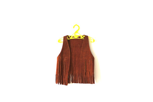 Vintage Suade Leather Brown Waistcoat 12-18 Months