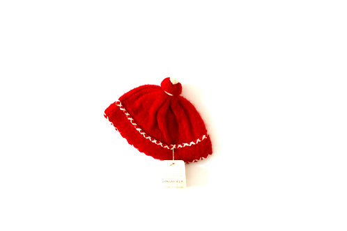 Vintage French Red 1950's Winter Baby Hat with Bobble 3-6 Months