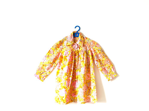 Vintage 1970's Floral Bold Yellow Dress 6-7 Years