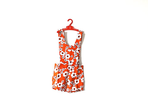 Vintage Orange 1970's Girls Dungarees Shorts Romper 5-6 Years