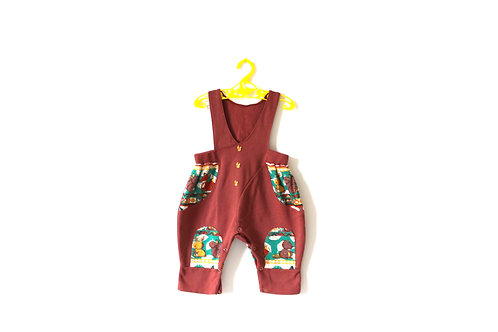 Vintage Brown Autumn Squirrel Romper 1-2 Years