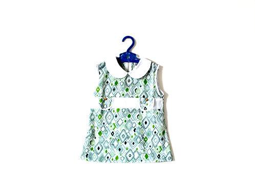 Vintage Mod 1960's Girls Green Diamond Dress Peterpan Collar 2 Years Summer